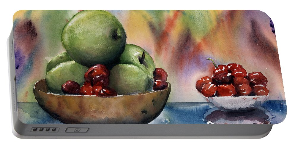 Apples And Cherries Portable Battery Charger featuring the painting Apples In A Wooden Bowl With Cherries On The Side by Maria Hunt