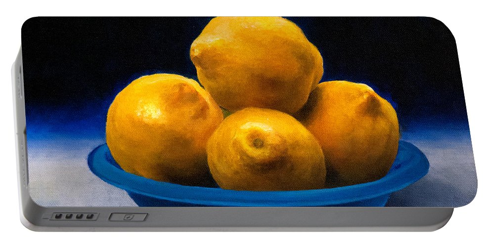 Bowl Of Lemons Portable Battery Charger featuring the painting Bowl Of Lemons by Anthony Enyedy