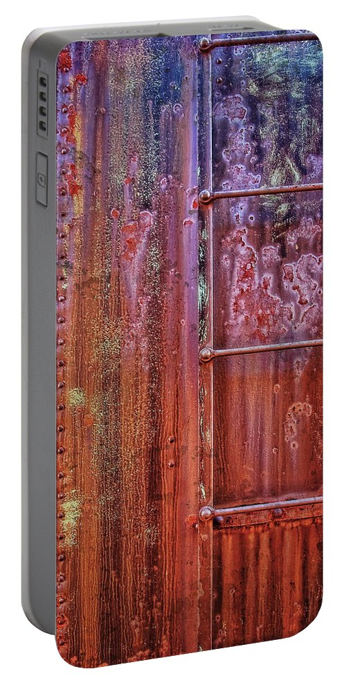 Abstract Portable Battery Charger featuring the photograph Boxcar Ladder by Marcia Colelli