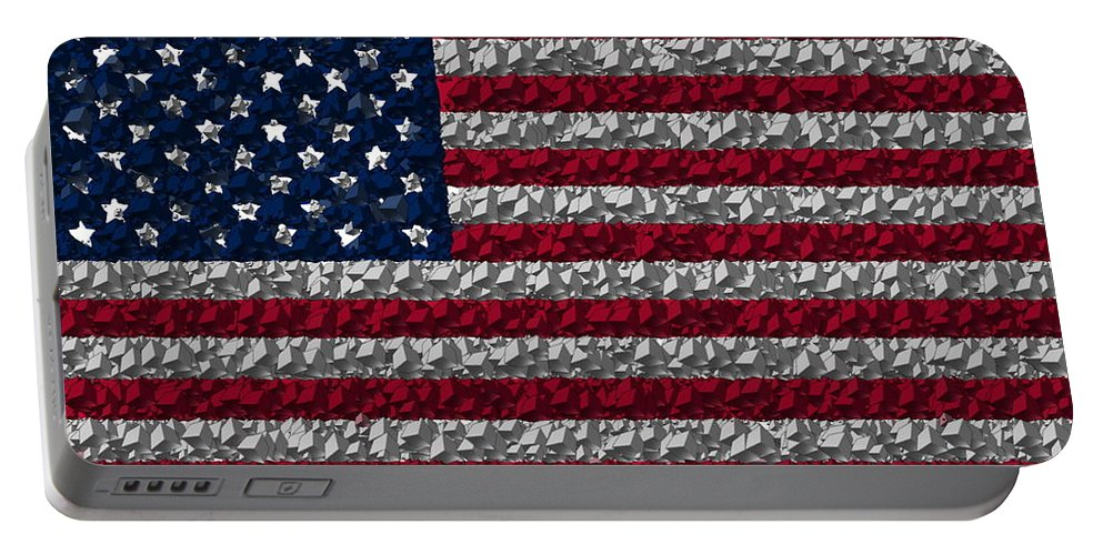 Flag Portable Battery Charger featuring the digital art Boxed Flag by Ron Hedges