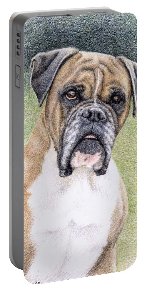Dog Portable Battery Charger featuring the drawing Boxer Portrait by Nicole Zeug