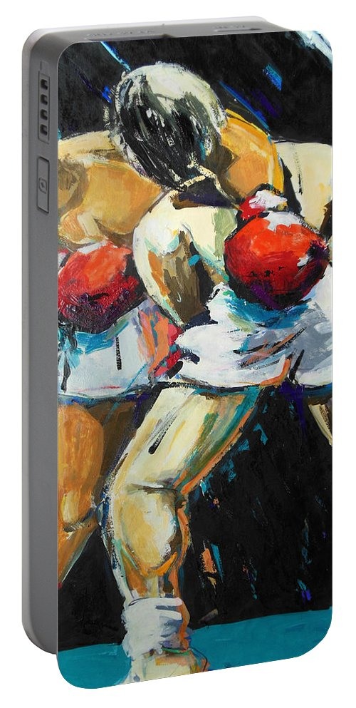 Boxing Portable Battery Charger featuring the painting Boxing by Lucia Hoogervorst