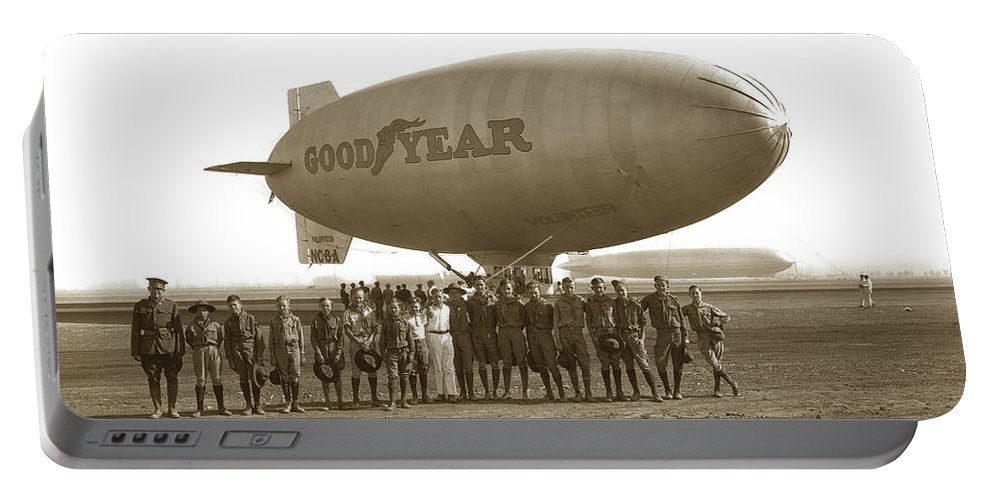 Boy Scouts Portable Battery Charger featuring the photograph Boy Scouts And Goodyear Blimp Guarding Graf Zeppelin Los Angeles Airport Aug. 26 1929 by California Views Archives Mr Pat Hathaway Archives