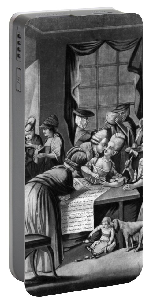 1774 Portable Battery Charger featuring the photograph Boycott Of British Tea by Granger