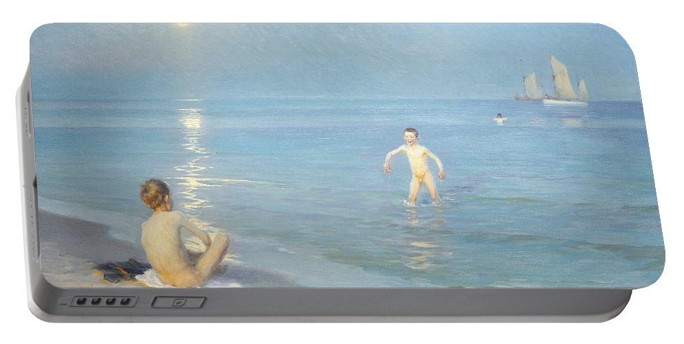 Painting; 19th Century Painting; Seasons; Europe; Denmark; Kroyer Peter Severin; Bather; Summer; Impressionism Portable Battery Charger featuring the painting Boys On The Seashore In A Summer Night At Skagen 1899 by Peder Severin Kroyer