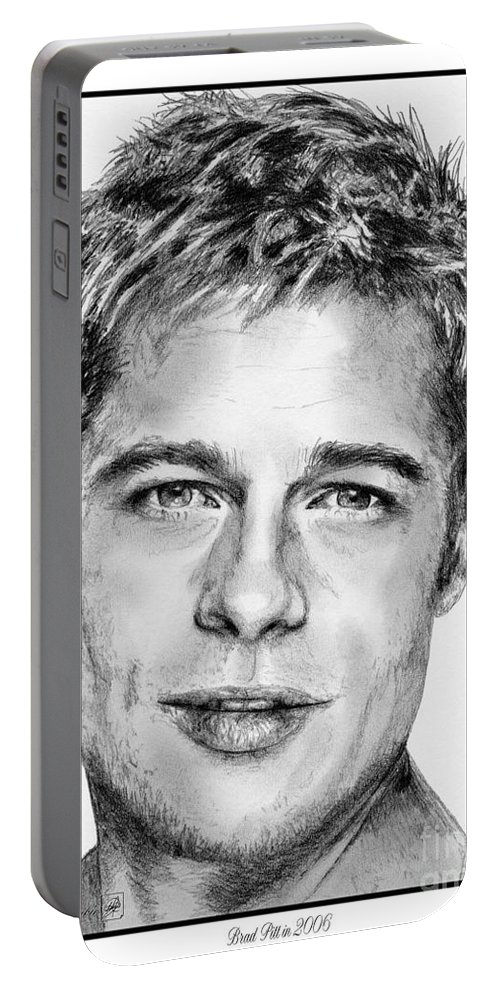 Mccombie Portable Battery Charger featuring the drawing Brad Pitt In 2006 by J McCombie