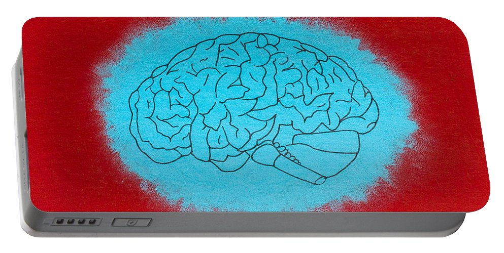 Portable Battery Charger featuring the painting Brain Blue by Stefanie Forck