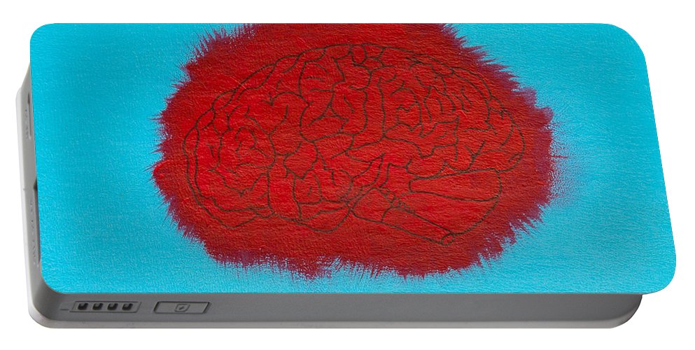 Portable Battery Charger featuring the painting Brain Red by Stefanie Forck