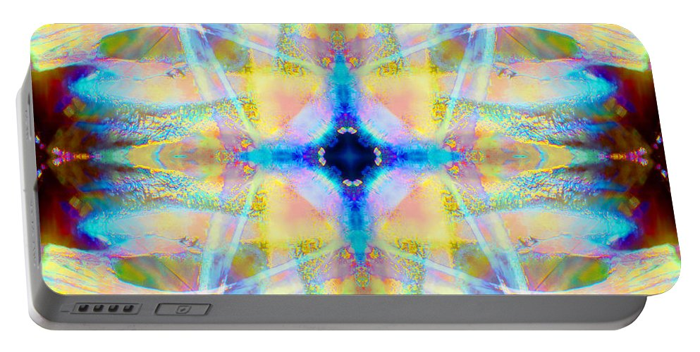 Rainbow Portable Battery Charger featuring the photograph Brainbow Mandala by Susan Bloom