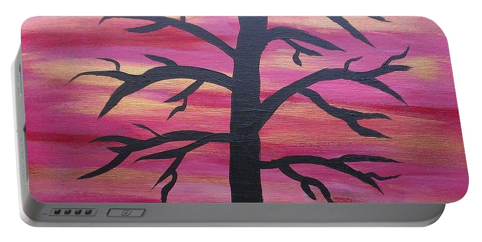 Silhouette Portable Battery Charger featuring the painting Branching Out Silhouette by Kevin Ramlogan