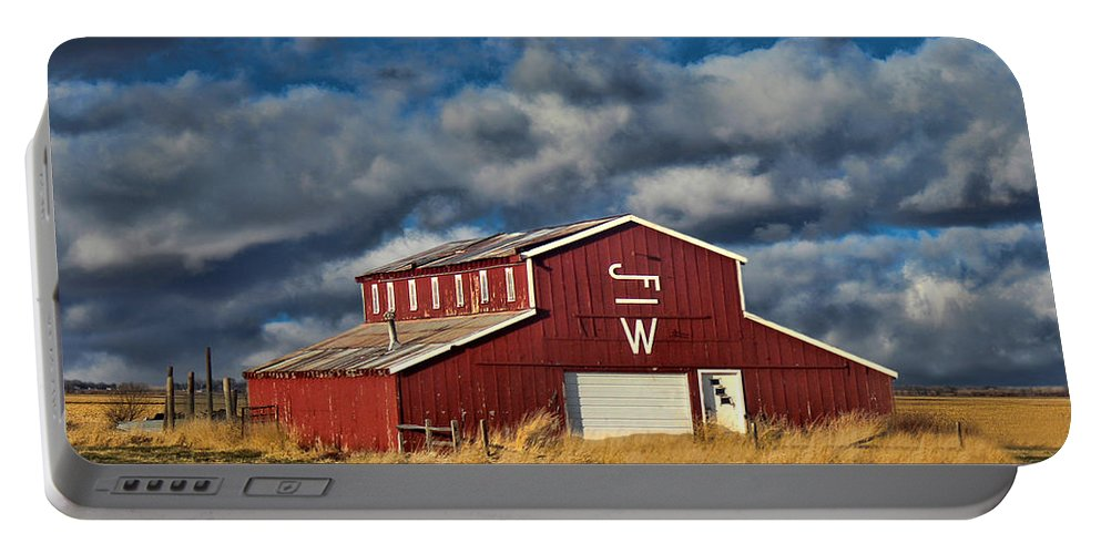 Red Barn Portable Battery Charger featuring the photograph Branded Barn by Sylvia Thornton