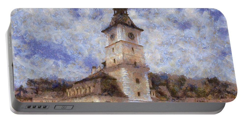 Architecture Portable Battery Charger featuring the painting Brasov City Hall by Jeffrey Kolker