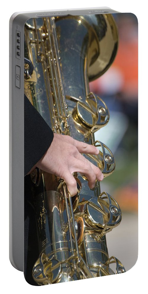 Music Portable Battery Charger featuring the photograph Brass Musical Instrument 01 by Thomas Woolworth