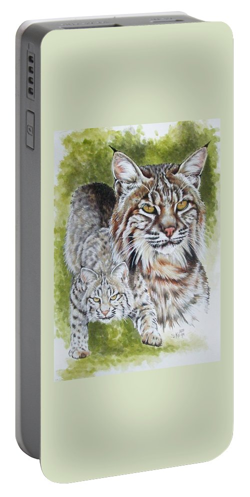 Small Cat Portable Battery Charger featuring the mixed media Brassy by Barbara Keith