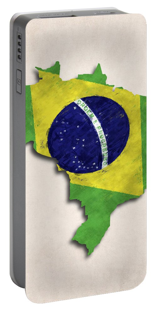 Brazil Portable Battery Charger featuring the digital art Brazil Map Art With Flag Design by World Art Prints And Designs