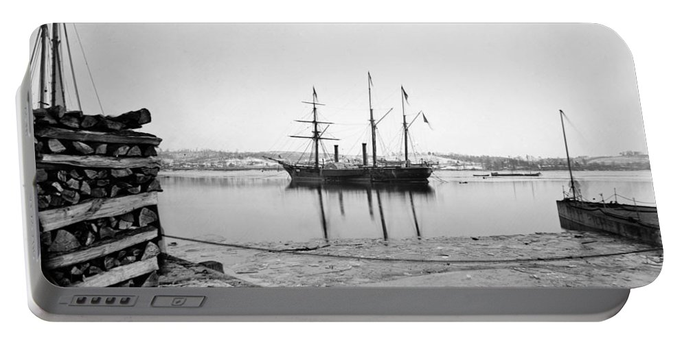 1863 Portable Battery Charger featuring the photograph Brazilian Steamship, 1863 by Granger