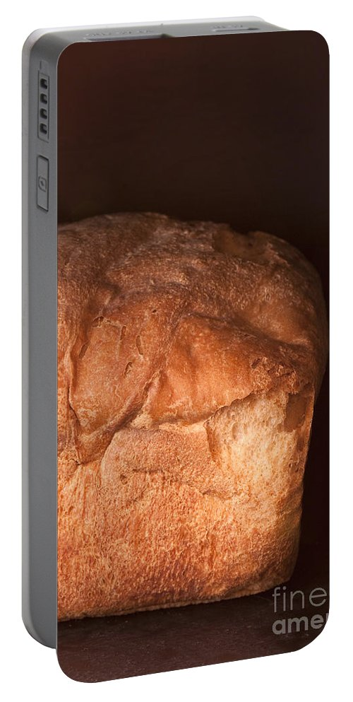 Food; Grain; Bread; Baked; Oven; Brown; Dark; Loaf; Still Life; Fluffy; Flaky Portable Battery Charger featuring the photograph Bread by Margie Hurwich
