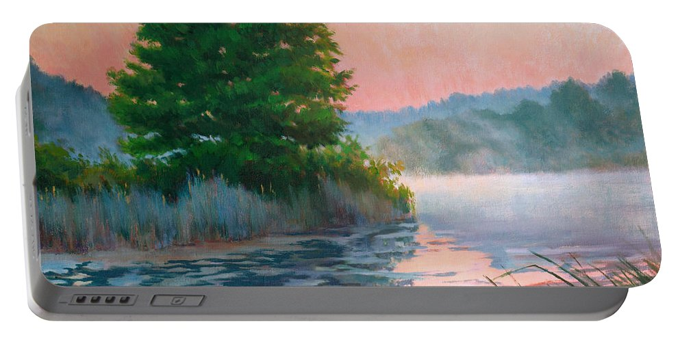 Impressionism Portable Battery Charger featuring the painting Break Of Day by Keith Burgess