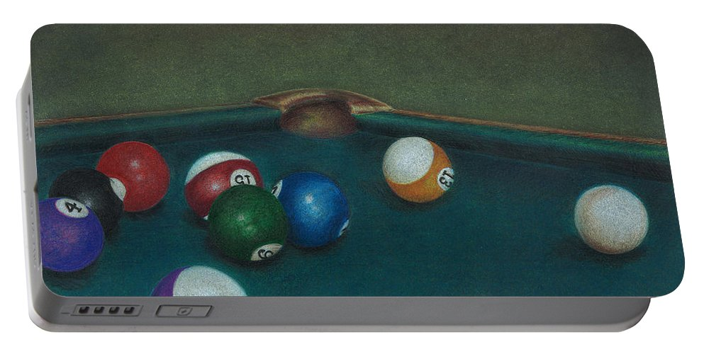 Pool Table Portable Battery Charger featuring the drawing Break by Troy Levesque