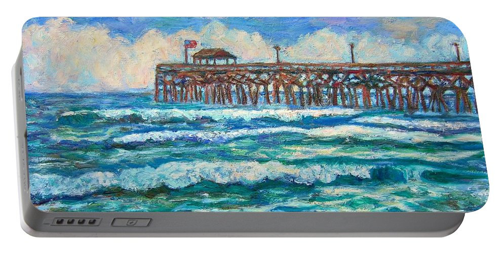 Shore Scenes Portable Battery Charger featuring the painting Breakers At Pawleys Island by Kendall Kessler