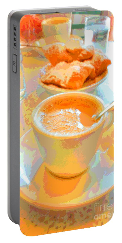 Caf� Du Monde Portable Battery Charger featuring the digital art Breakfast At Cafe Du Monde by Alys Caviness-Gober