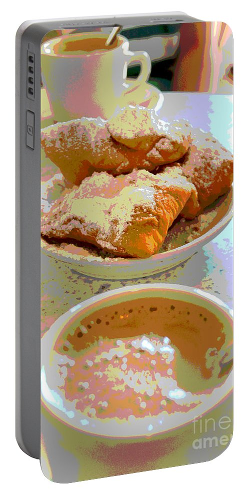 Cafu Monde Portable Battery Charger featuring the digital art Breakfast Of Champions At Cafe Du Monde by Alys Caviness-Gober