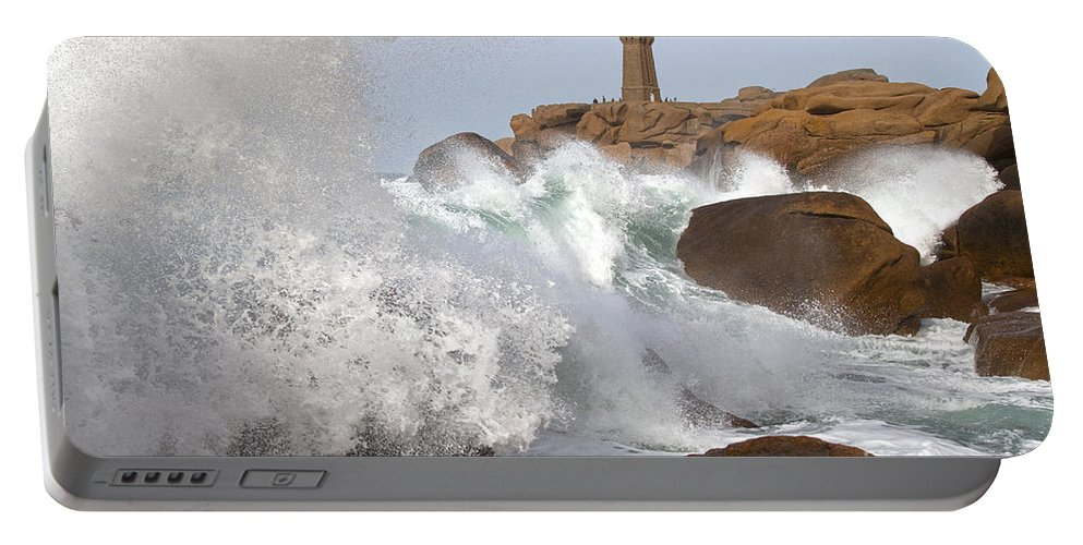 Sea Portable Battery Charger featuring the photograph Breaking Of Waves by Heiko Koehrer-Wagner