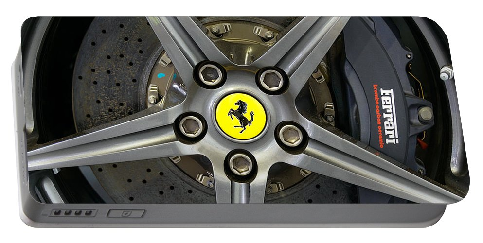 Berlinetta Portable Battery Charger featuring the photograph Brembo Carbon Ceramic Brake On A Ferrari F12 Berlinetta by Dutourdumonde Photography