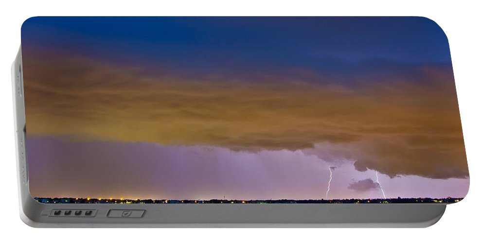 Lightning Portable Battery Charger featuring the photograph Brewing Storm by Stephen Whalen