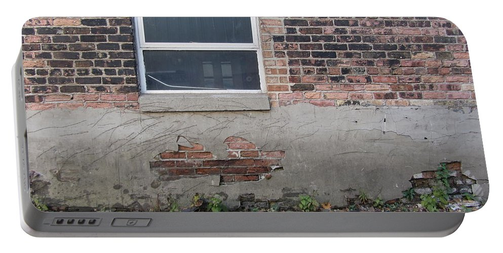 Brick Portable Battery Charger featuring the photograph Brick Broken Plaster And Window by Anita Burgermeister