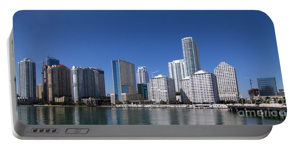 Brickell Portable Battery Charger featuring the photograph Brickell Skyline by Carolina Mendez