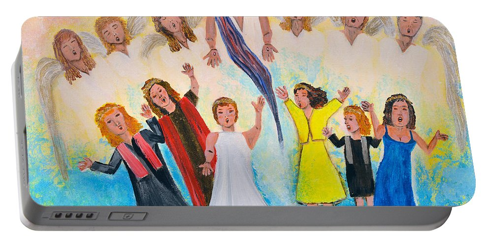 Fine Art Christian By Cassie Sears Portable Battery Charger featuring the painting Bridal Invitation by Cassie Sears
