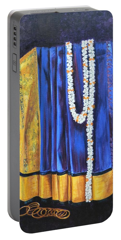 Bridal Portable Battery Charger featuring the painting Bridal Wear by Usha Shantharam
