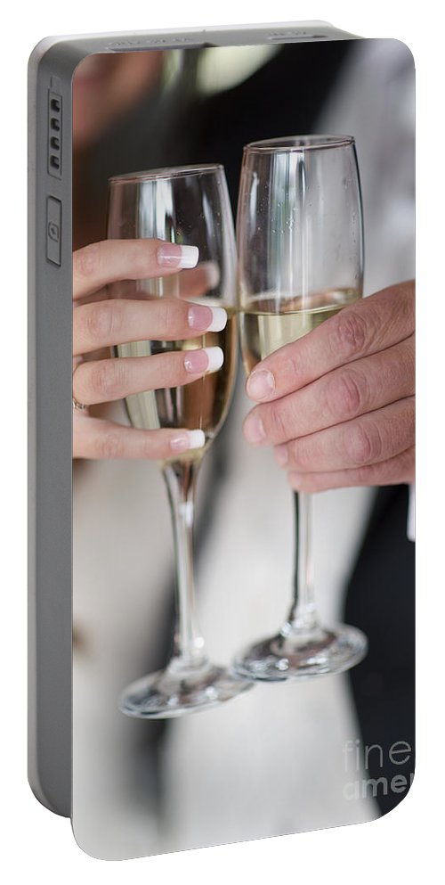 Toast Portable Battery Charger featuring the photograph Bride And Groom Champagne Toast by Lee Avison