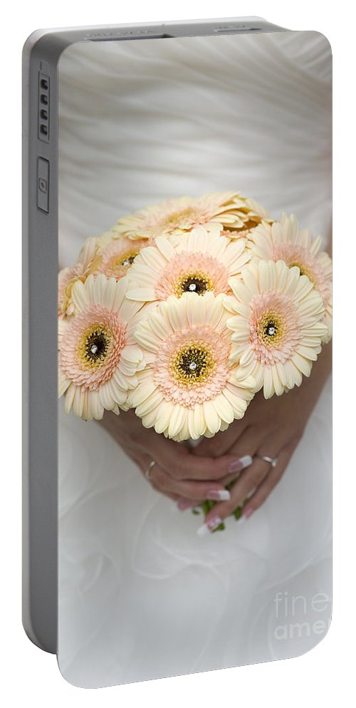 Gerbera Portable Battery Charger featuring the photograph Bride Holding Gerbera Bouquet by Lee Avison