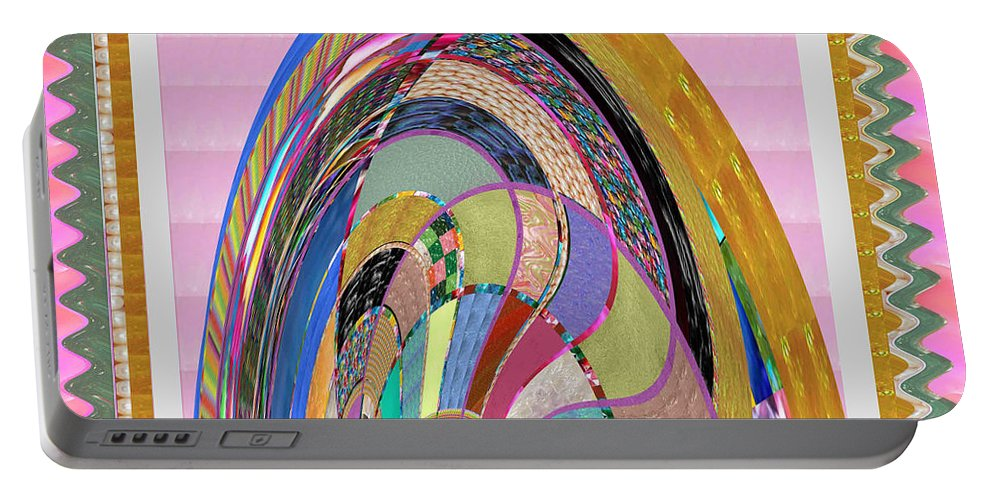 Bride Portable Battery Charger featuring the painting Bride In Layers Of Veils Accidental Discovery From Graphic Abstracts Made From Crystal Healing Stone by Navin Joshi