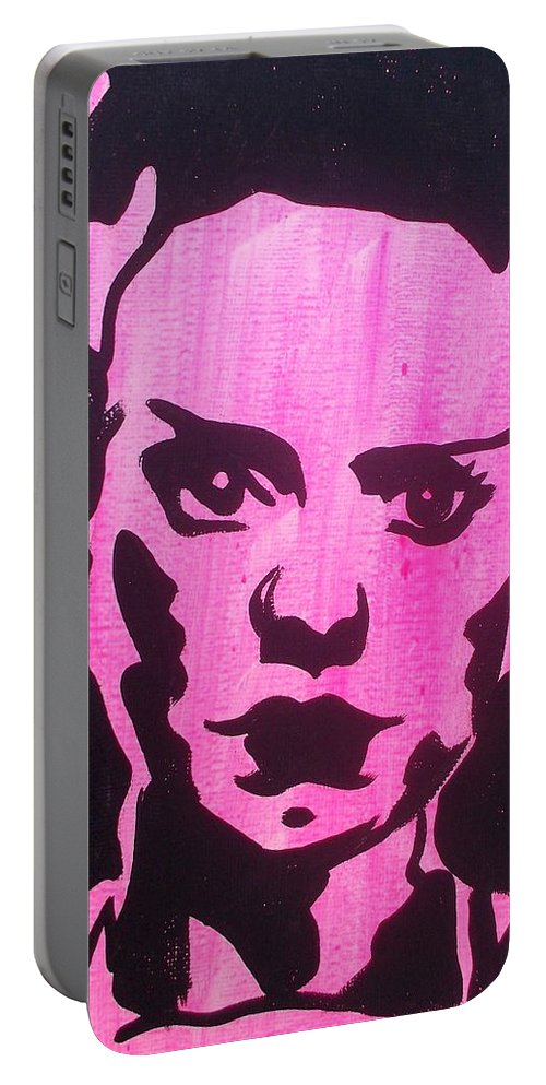 Bride Or Frankenstein Portable Battery Charger featuring the painting Bride Of Frankenstein Pink by Marisela Mungia