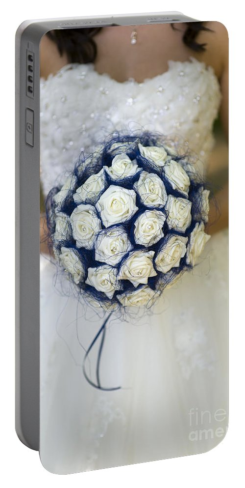 Bouquet Portable Battery Charger featuring the photograph Bride With Flowers by Lee Avison
