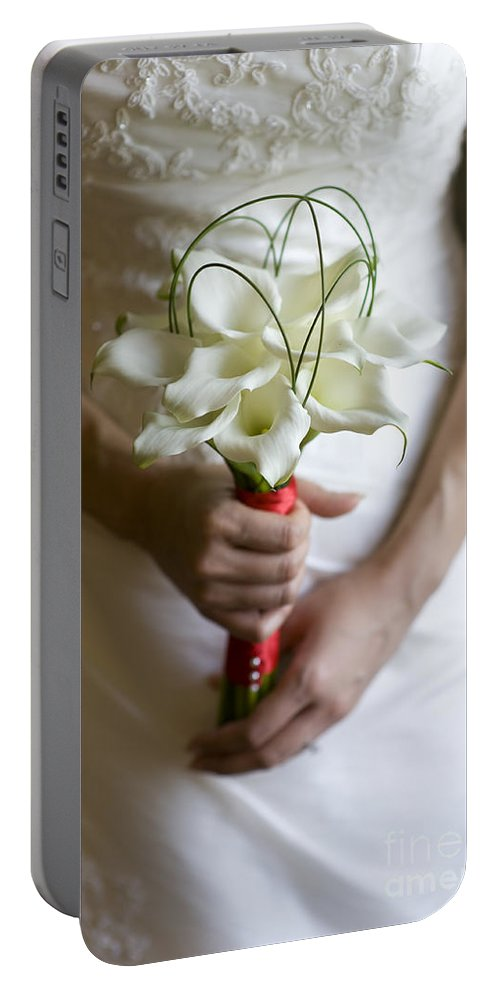 Bride Portable Battery Charger featuring the photograph Bride With Lily Bouquet by Lee Avison
