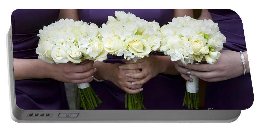 Women Portable Battery Charger featuring the photograph Bridesmaids With Flowers by Lee Avison