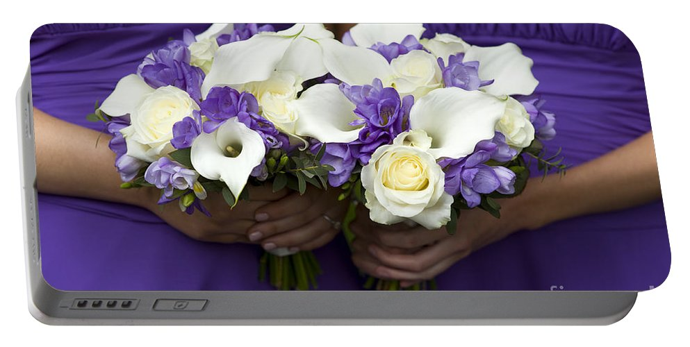 Bouquet Portable Battery Charger featuring the photograph Bridesmaids With Wedding Bouquets by Lee Avison