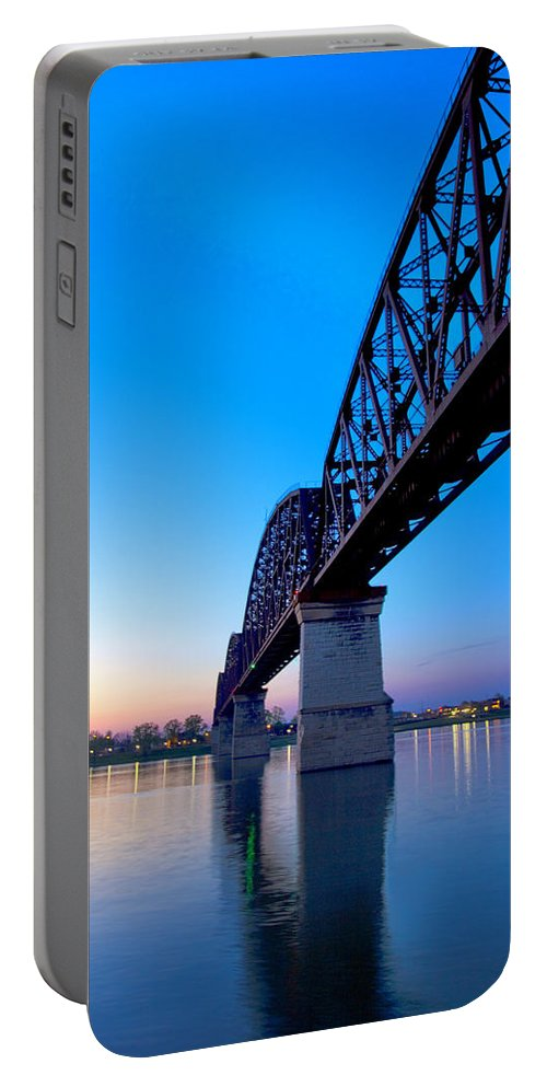 Abstract Portable Battery Charger featuring the photograph Bridge Abstract by Diana Powell