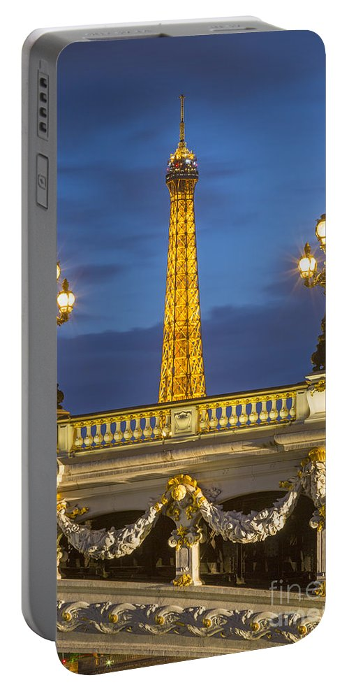 Alexandre Portable Battery Charger featuring the photograph Bridge And Eiffel by Brian Jannsen