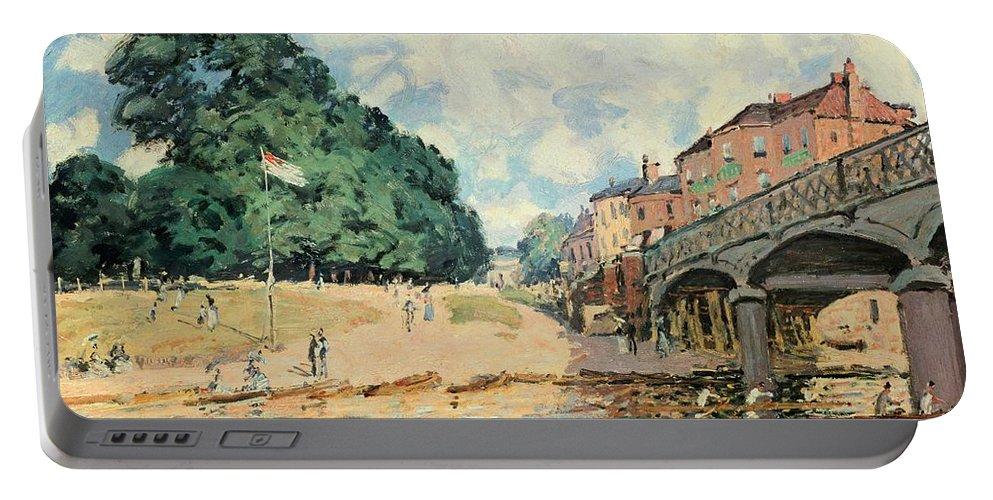 Bridge At Hampton Court Portable Battery Charger featuring the painting Bridge At Hampton Court by Alfred Sisley