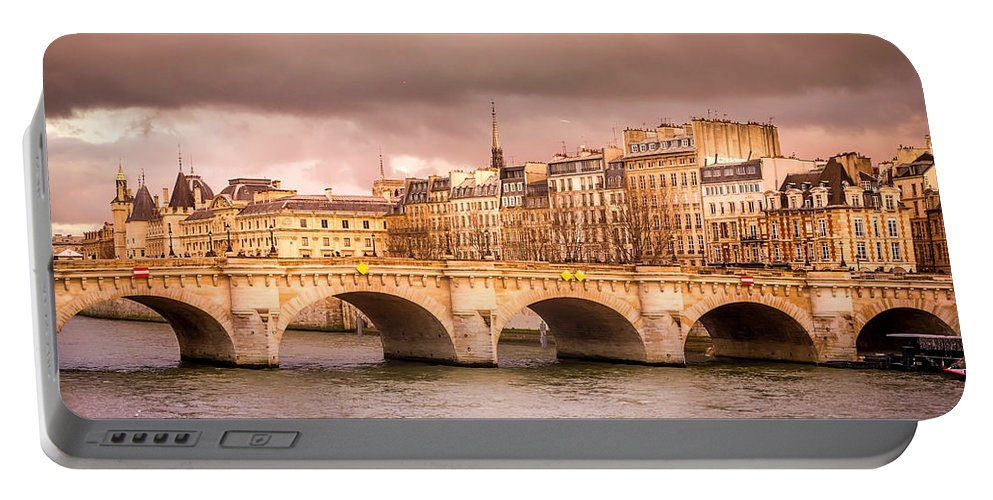 Paris Portable Battery Charger featuring the photograph Bridge At Sunset by Pati Photography