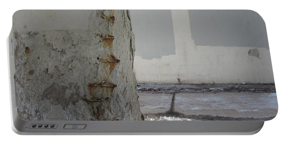 Concrete Portable Battery Charger featuring the photograph Bridge Column Decay 3 by Anita Burgermeister
