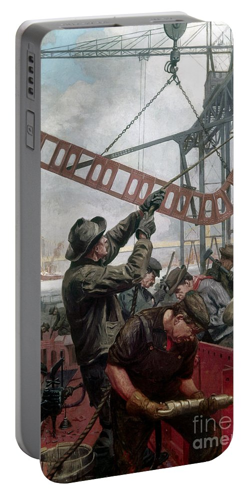 1909 Portable Battery Charger featuring the painting Bridge Construction 1909 by Granger
