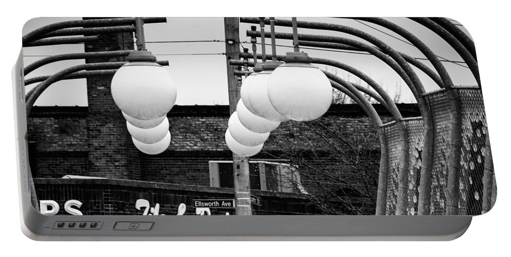 Black And White Portable Battery Charger featuring the photograph Bridge Globes by Jay Ressler
