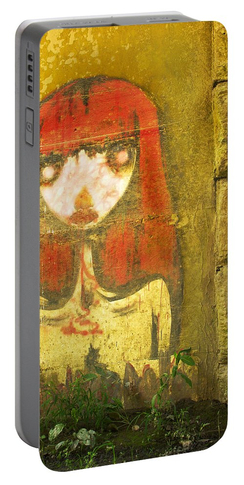 Painting Portable Battery Charger featuring the photograph Bridge Graffiti Girl by Guy Shultz