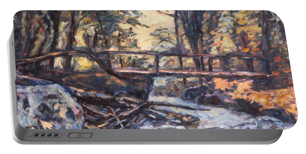 Creek Portable Battery Charger featuring the painting Morning Bridge In Woods by Kendall Kessler